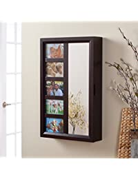 Photo Frames Wall Mount Jewelry Armoire Mirror   Espresso   16W X 24H In.