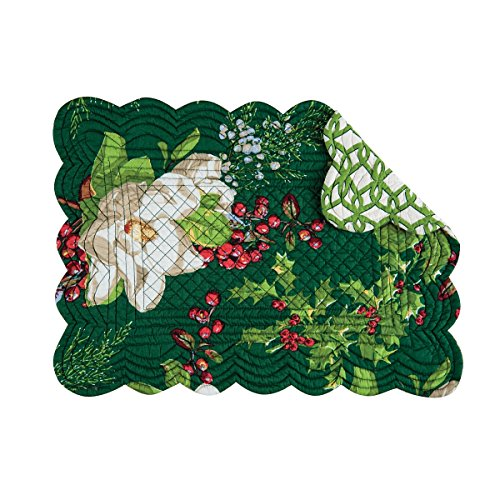 """Set of 4 Pcs, 13x19"""" Quilted Placemat, Bella Magnolia"""