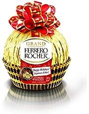 Grand Ferrero Rocher Hazelnut Milk Chocolate Gift Set, 4 Individually Wrapped Fine Chocolates Inside, 240 grams