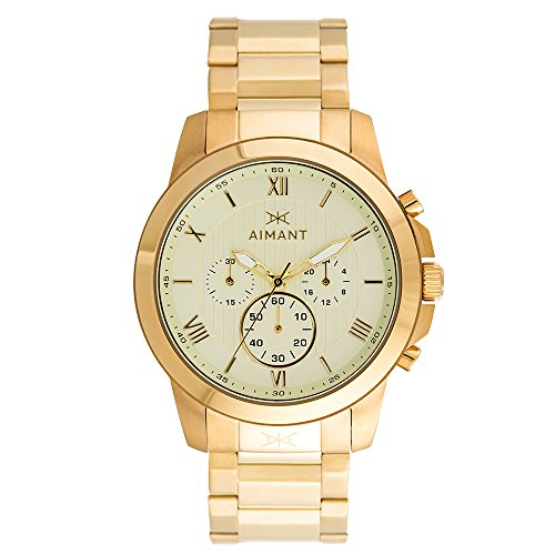 AIMANT-Mens-Kent-Gold-with-Gold-Stainless-Steel-Bracelet-Watch-GKE-100SG-GG