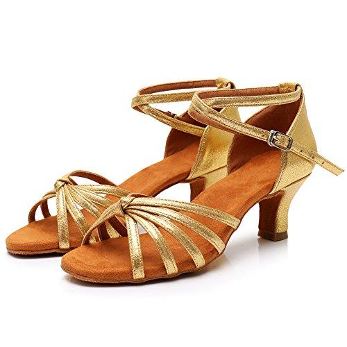 5cm Latin Estándar SWDZM Baile de modelo Ballroom Mujer LP217 Zapatos Tacón Gold 7ZxqvwAC