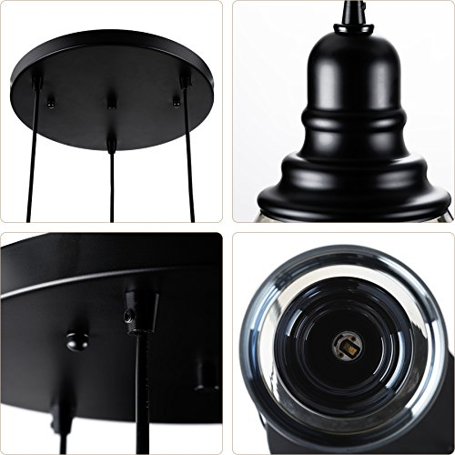 CO-Z 3-Light Cluster Chandelier Pendant, 3 Glass Jar Hanging Pendant Ceiling Lighting Fixture, Antique Black Mason Jar Pendant Light for Kitchen Island Dining Table Bar Counter Bedroom by CO-Z (Image #8)