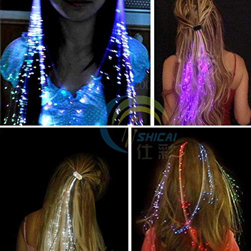 LED Hair Light Emitting Fiber Optic Pigtail Braid Plait Luminous Wig KTV Party Prom Supplies Accessory Headdre ()