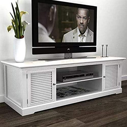 h4home Shabby Chic - Mueble de 2 Puertas para TV, Color Blanco Vintage, Mueble de aparador de Madera Estilo francés Antiguo, Centro de Entretenimiento de Campo, pequeño Armario de Madera para salón:
