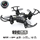 MKLOT FQ777-951C WiFi Pocket Drone Mini RC Quadcopter FPV 0.3MP Camera 4CH 6-Axis Gyro w/ Switchable Controller RTF One Key Return Helicopter Best Gift for Boys Kids Children - Black