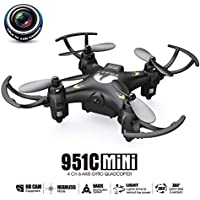 RC Quadcopter Mini Drone, ECLEAR 4 Channel 2.4GHz 6-Axis Gyro Helicopter with HD Camera LED Lights One Key Return Headless Mode Toys For Adult Kids Aerial Photography Racing