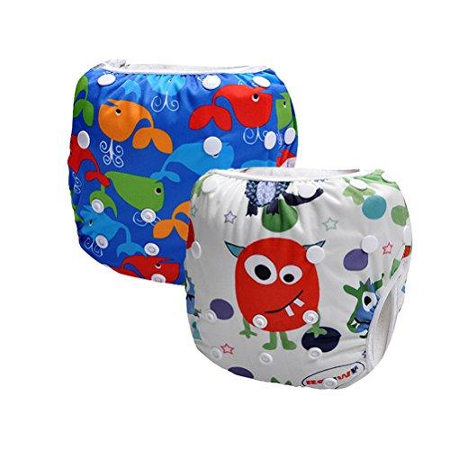 Storeofbaby 2pcs Waterproof Reusable Baby Swim Diapers Adjustable Fits 0-3 Years (Pack of 2)