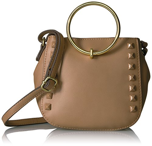 T-Shirt & Jeans Mini Ring Bag with Studs, Tan