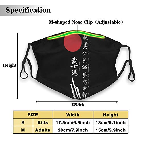 Japanese Kanji Samurai Bushido Waterproof Dust Face Mask For Men Women Kids Ski Cycling Camping Windproof Mouth Masks