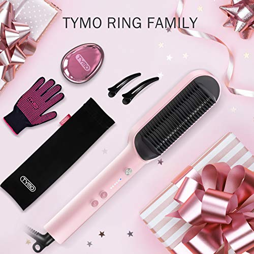 TYMO Ring Pink Hair Straightener Brush – Hair Straightening Iron with Built-in Comb, 20s Fast Heating & 5 Temp Settings & Anti-Scald, Perfect for Professional Salon at Home
