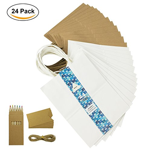 "Becko White & Brown Mix Kraft Paper Bags, Shopping, Merchandise, Party, Gift Bags - 24 Count - 8""x5""x10.5"" -"