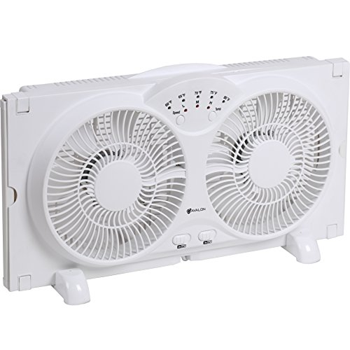 Exhaust Air Fans (Genesis Twin Window Fan with 9 Inch Blades, High Velocity Reversible AirFlow Fan, LED Indicator Lights Adjustable Thermostat & Max Cool Technology, ETL Certified)