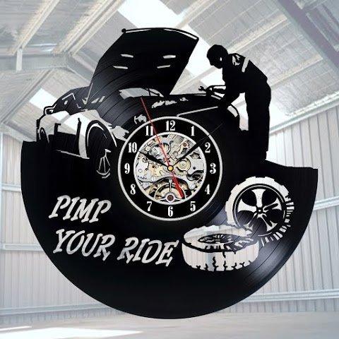 (The Mechanic Art Vinyl Wall Clock Gift Room Modern Home Record Vintage Decoration)