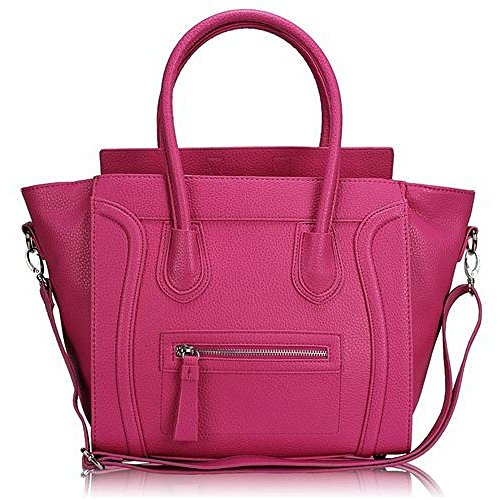 Plum Womens Leather Faux Tote Designer Smile Studded Style Handbag 8Brx8wtq