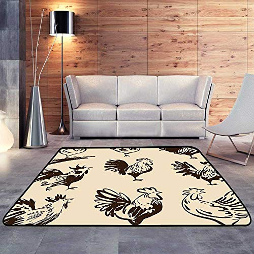 Rugs for Sale,Roosters in Different Poses. Vector Silhouettes Roosters.W 78.7