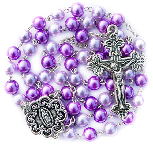 Big A Solutions Rosary Beads Catholic - Rosario - Handmade - Blue Rosary - Purple Rosary - Pink Rosary - Imitation Pearl - Free Velvet Pouch - Catholic Gift idea Easter Gift ()