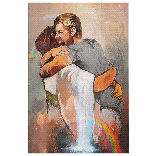 BDgoldchicken First Day in Heaven - Welcome Hug of God - for Your Man in Heaven - Canvas Wall Art (24x36in)