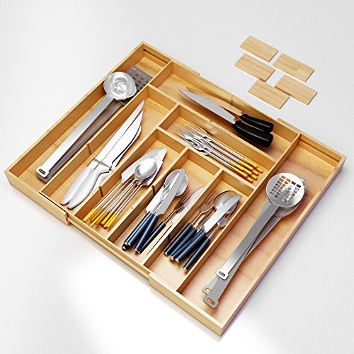 Silverware Kitchen Drawer Organizer -Expandable Bamboo