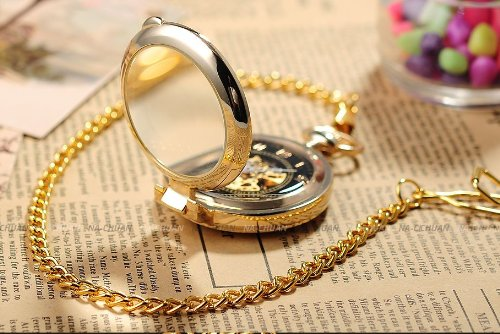 AMPM24 Unique Golden Magnifier Skeleton Mechanical Men's Pocket Watch Chain Gift WPK022 by AMPM24 (Image #2)