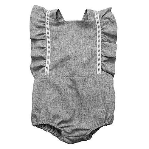 Newborn Baby Girls Cross Bandage Jumpsuit Ruffles Sleeves Grey Romper Summer Bodysuit (6-12M, Grey) ()