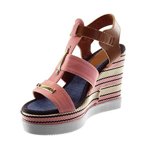 Bicolores Moda Mules 11 Mujer Angkorly Cm Jeans Tanga Denim Plataforma Rosa Zapatillas Dorado Sandalias Gladiator twqpnpUv5