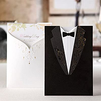 CYNDIE Hot Sale New Set Wedding Invitation Cards with Envelopes Seals Custom Personalized Printing