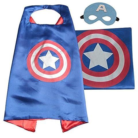Kiddo Care Superhero costumes, 1 cape, Mask, Satin (Captain America)