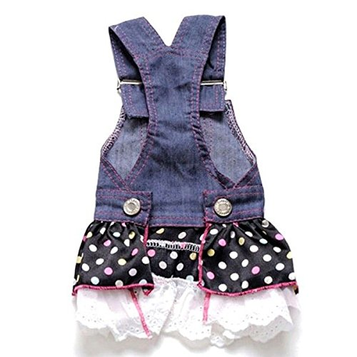Picture of Petparty Sweet Heart Sequins Denim Dog Dress Dog Clothes,M