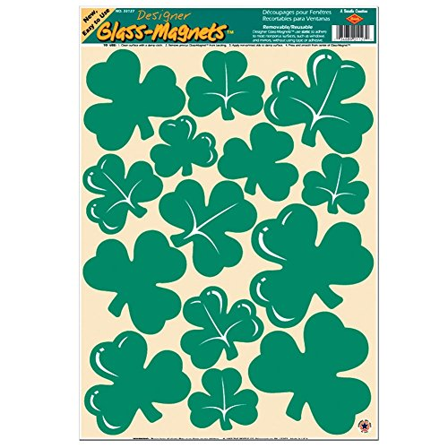 Shamrock Clings Party Accessory (1 count) (14/Sh) (Shamrock Window)