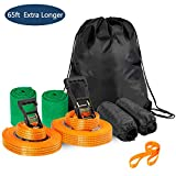 Aukfa Slackline Kit for Kids Arm Trainer Line Warrior Training Equipment Include Carrying Bag and Tree Protectors, Gifts for Boys and Girls