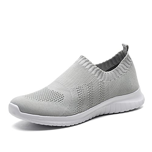 TIOSEBON Women's Walking Shoes Lightweight Mesh Slip-on- Breathable Running Sneakers 5 US Gray