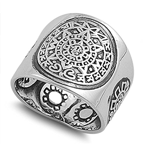 Sterling Silver Men's Aztec Calendar Ring Wholesale 925 Band 19mm Size 11