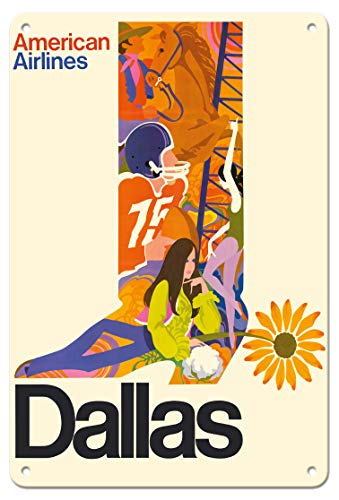 Pacifica Island Art 8in x 12in Vintage Tin Sign - Dallas, Texas - Cowboy Boot with Sunflower Spur - American Airlines