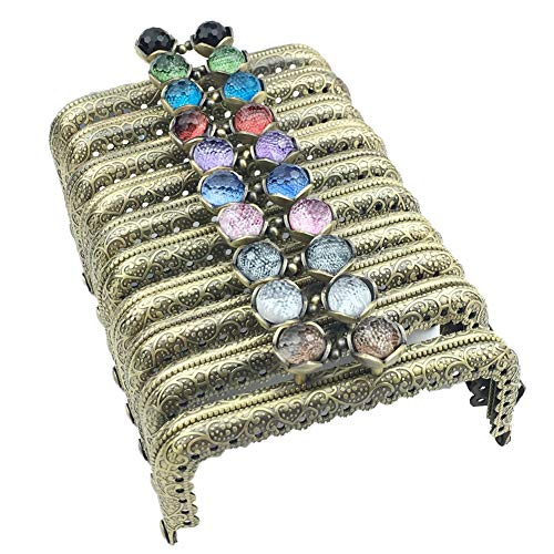 ead Coin Purse Frame Metal Bag Kiss Clasp Handle for Bag Sewing Craft Square Bronze 8.5CM ()
