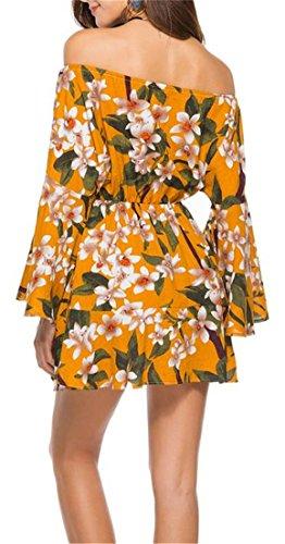 Cruiize Lâche Imprimé Floral En Forme De Robe Courte À Manches Moitié D'épaule Des Femmes Jaune