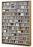 1668枚収納 CD屋さんのCD/DVDラック 幅139cm インデックスプレート20枚付き (ナチュラル N)