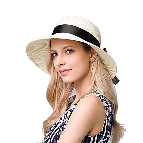 kekolin The New Womens Straw Hat Floppy Foldable Roll up Beach Cap Sun Hat