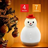 Night Lights for Kids, V-Techology Christmas Silicone Snowman Tumbler Night Light 4 Modes 7 Colors Tap Control Baby Nursery Night Light Gift for Birthday, Christmas, New Year