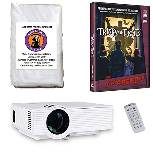 AtmosFearFx Tricks and Treats Halloween DVD Projector Kit with 1900 Lumen LED Video Projector, Reaper Brothers High Resolution Window Rear Projection Screen