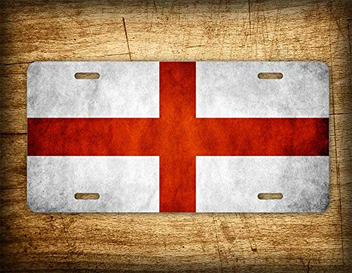 Fhdang Decor St. George's Cross License Plate Cross of St. Ambrose Inter AC Milan Flag Pirelli Football Italy Soccer Genoa Crusaders Emblem England ()