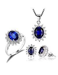 JewelryPalace Princess Diana William Kate Middleton's 7.9ct Created Blue Sapphire Jewelry Sets Engagement 925 Sterling Silver Ring Pendant Necklace Stud Earrings
