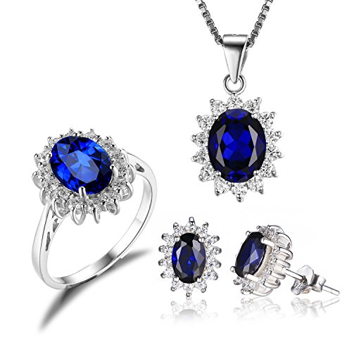 JewelryPalace Women's Princess Diana William Kate Middleton's 7.9ct Created Blue Sapphire Jewelry Sets Engagement 925 Sterling Silver Ring Pendant Necklace Stud Earrings Size 7 (Diana Sapphire Necklace)