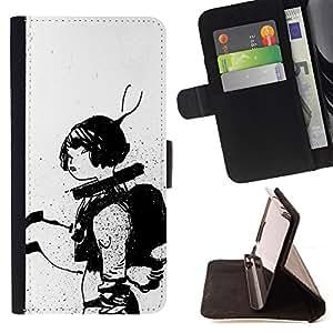BullDog Case - FOR/Sony Xperia Z1 L39 / - / ASTRONAUT SKETCH BLACK WHITE WOMAN /- Monedero de cuero de la PU Llevar cubierta de la caja con el ID Credit Card Slots Flip funda de cuer