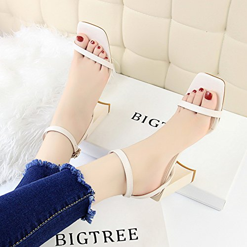 y cuadrada y Tacones altos aguja de Simplicidad Puntera de cinco Moda Sandalias aguja Tacones Blanco Treinta Tacones ZSwF5xq