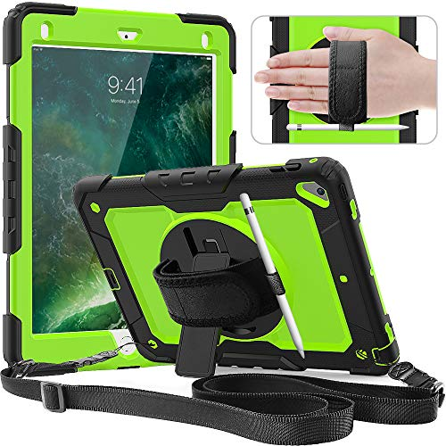 New iPad 9.7 2018/2017 Case,SXTech Three Layer Heavy Duty Soft Silicone Bumper Case with 360 Rotatable Stand Hand Strap & Shoulder Strap for Apple iPad 5th/6th Generation/Air 2/ Pro 9.7-Green