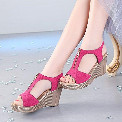 YMFIE La cuña del Alto talón de Cuero del Verano con Las Sandalias Abiertas del Dedo del pie la Manera Casual de Las señoras Calza los Zapatos al Aire Libre cómodos Antideslizantes C