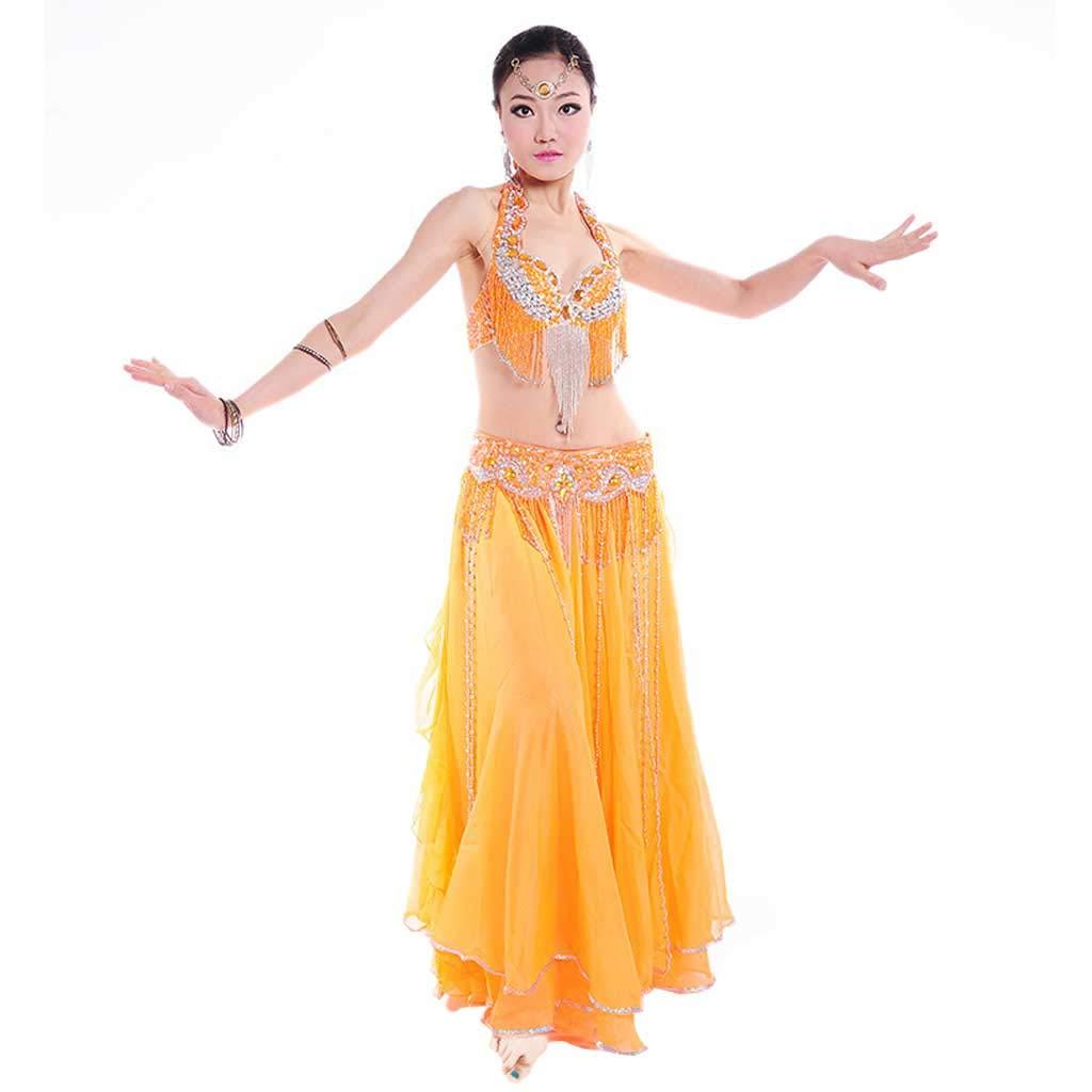 成人女性のベリーダンスの衣装、ビーズのブラのドレス B07J424MSJ M|オレンジ オレンジ M