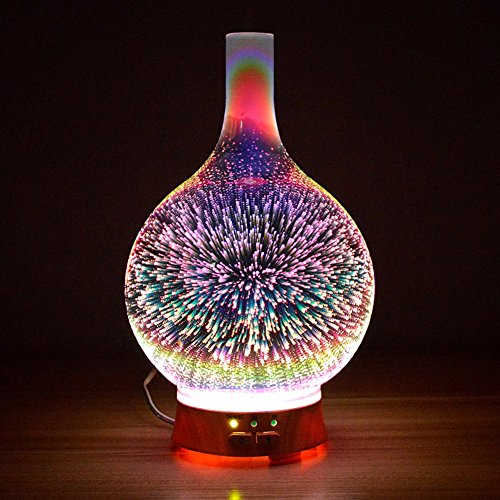 Aromatherapy essential oils diffuser ultrasonic wave humidifier plug in 3d star lamp silent-A 9x24cm(4x9inch) by ASDFGJHKL
