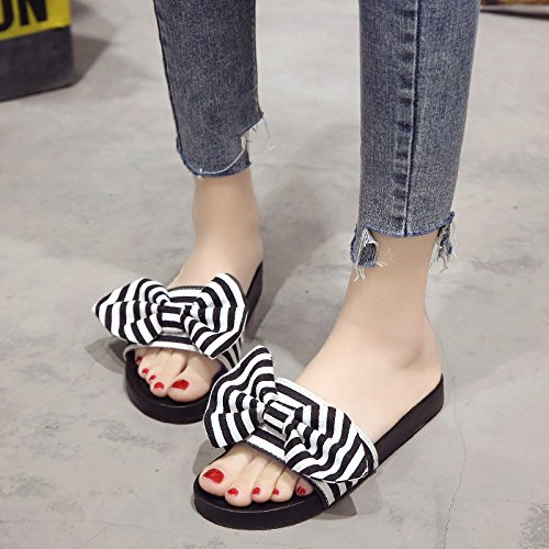 WHLShoes Joker Mode De Chaussures Occasionnels D'usure Chaussons Bow D'Été À Cool Harajuku Épais black Femme Plage Confortables Fond ZZrqS