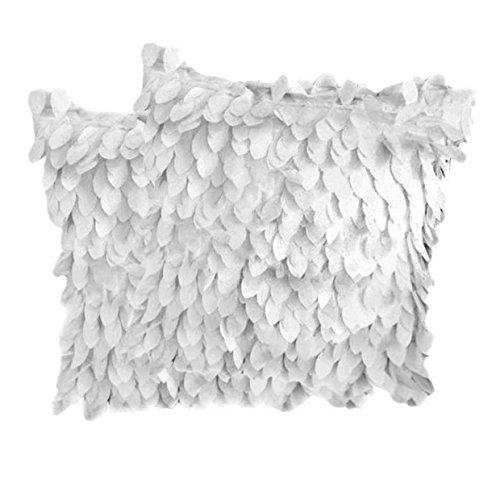 Weixinbuy Fallen Leaves Feather Couch Cushion Cover Home Decor Sofa Throw Pillow Case (2 Pcs White) (Throw Red Walmart Pillows)